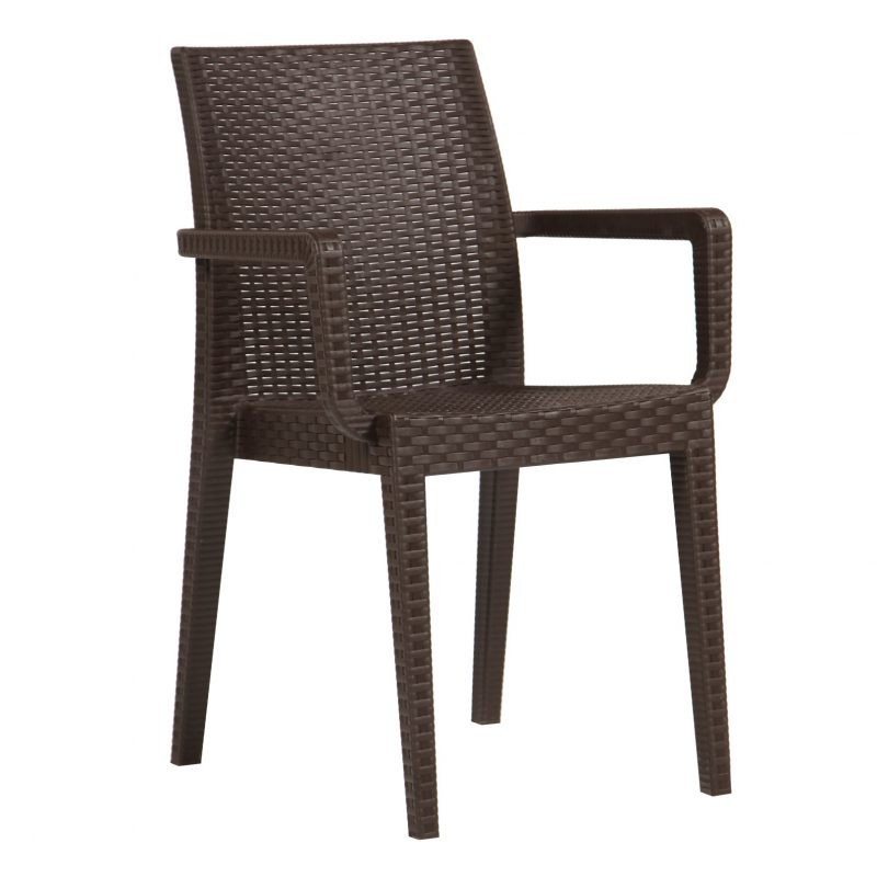 Armchair GLADY, Stackable, Polypropylene Brown Chocolate