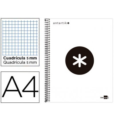 SPIRAL NOTEBOOK LIDERPAPEL A4 MICRO ANTARTIK LINED CAP 120H 100 GR CUADRO5MM 5 BANDS 4 DRILLS WHITE COLOR