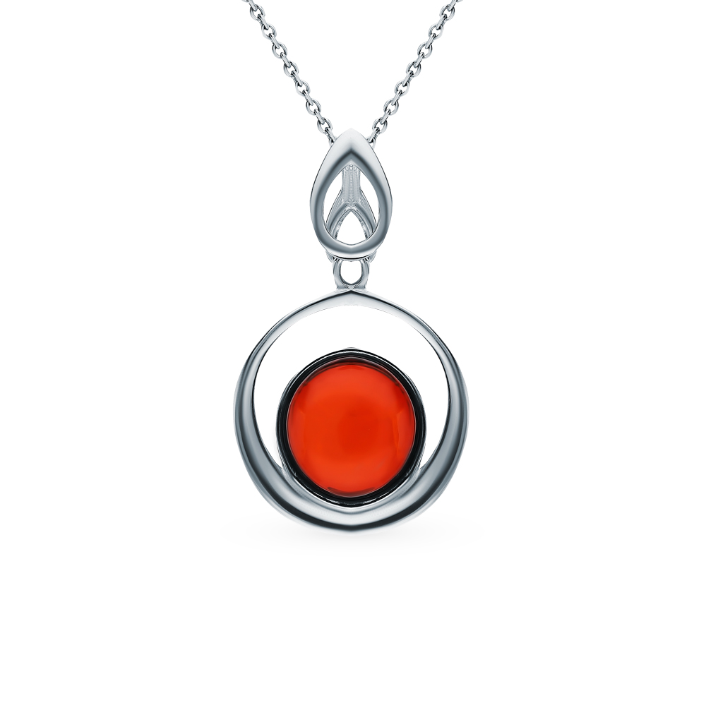 Silver Pendant With Amber SUNLIGHT Test 925