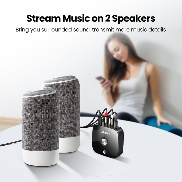 UGREEN Bluetooth RCA Receiver 5.0 aptX LL 3.5mm Jack Aux Wireless Adapter Music for TV Car RCA Bluetooth 5.0 3.5 Audio Receiver 3