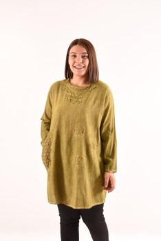 Womens Single Pocket Pistachio green Tunik 4030