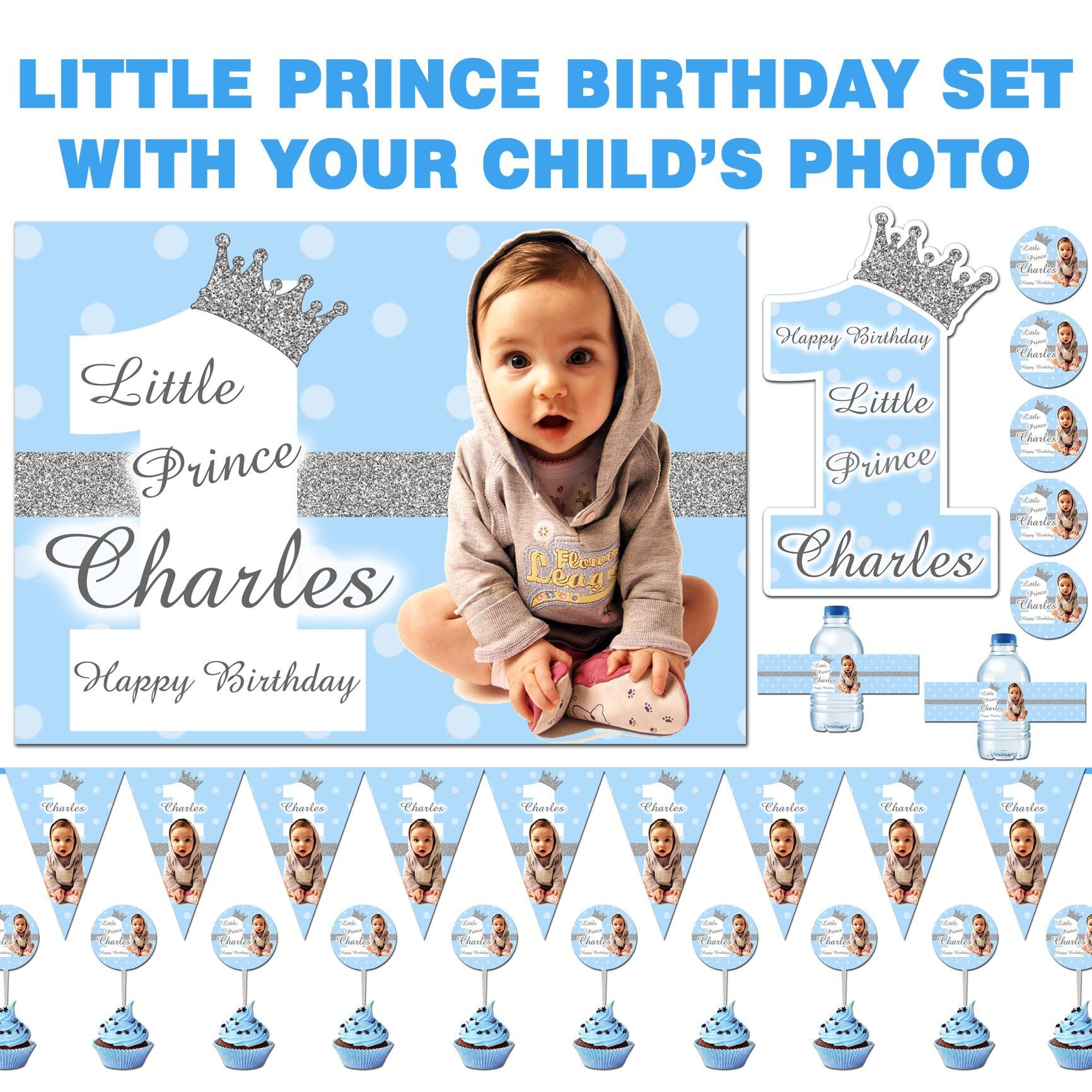 Anniversaire Petit Prince merci Sweet Cônes Personnalisé Bleu Prince garçon