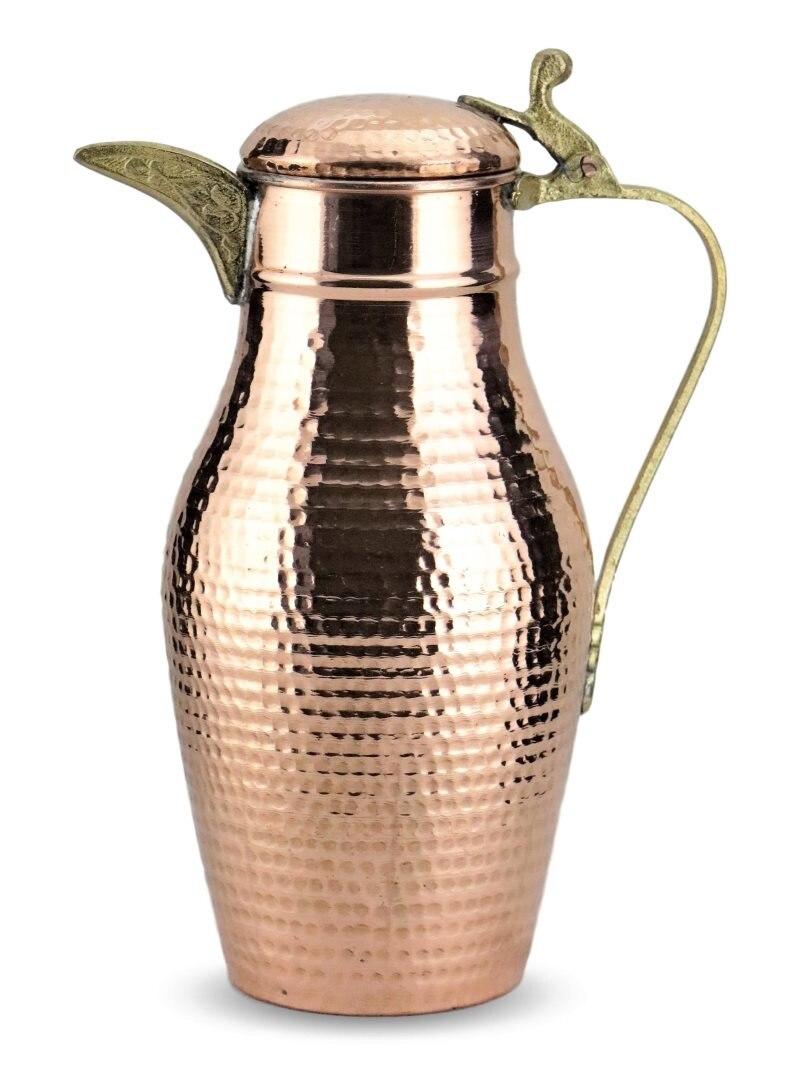 Sonaycu اليدوية ديبي النحاس النقي إبريق ، 1.6 L مطروق النحاس إبريق ، إبريق ماء للصحة