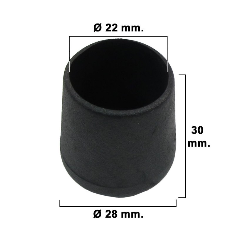 Cone Tapered Black 22mm. Blister 4 PCs.