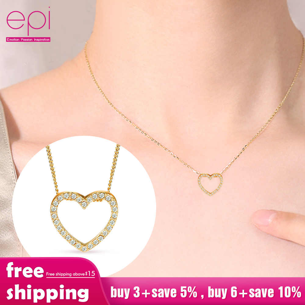 Jewelry Boho Necklace Heart-shaped Zircon Crystal choker Chain Women Clavicle Sweater Chain Rhinestone gold Silver Pendant Gift