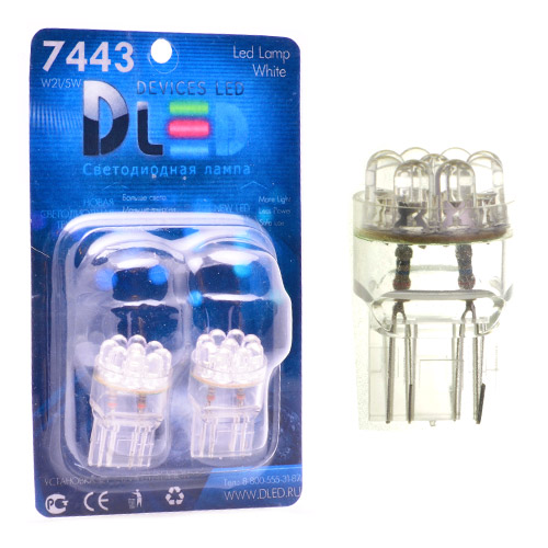 1pcs LED Car Lamp W21/5W - T20 - 7443 - W3х16q - 9 - Dip-Led