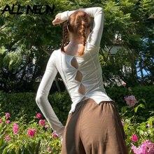 ALLNeon Y2K esthétique évider point à manches longues T-shirts e-girl Vintage solide col rond hauts courts 90s mode Streetwear