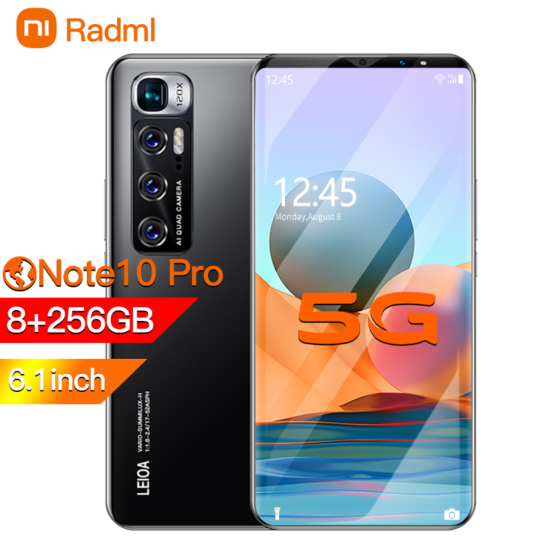 Radmi Примечание 10 pro Смартфон Android 10 128 ГБ смарт-телефонов разблокированные 5g 6,1» 4800 Батарея 8 + 13MP Камера глобальная версия сотовый телефон