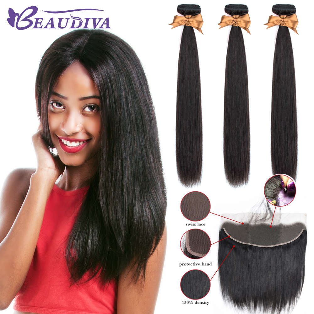 Beaudiva Brazilian Straight Hair Weave Bundles With Frontal Closure Lace Frontal With Bundles Human Hair Extension Hair Bundles-in 3/4 Bundles with Closure from Hair Extensions & Wigs