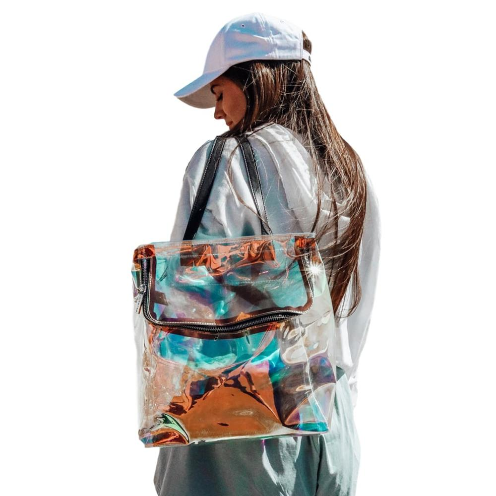 Flamingueo Backpack Woman, Design Design Holografico, Clear, Bright, Travel Backpack, School Backpack, Backpack Clear