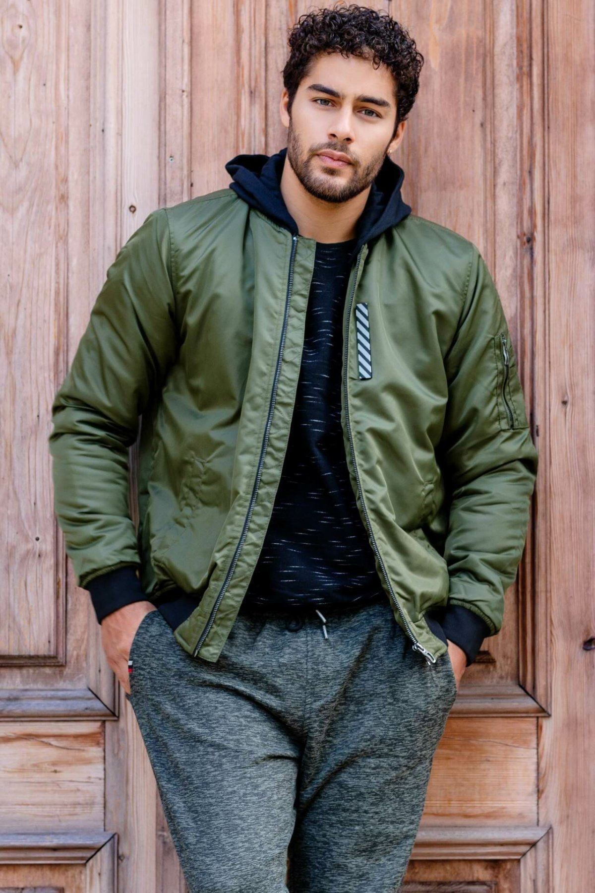 DeFacto Winter Autumn Outer Wear Army Green Mens Thick Warm Jacket Mont Stand Collar Jacket Coat I8047AZ18WNKH215-I8047AZ18WN