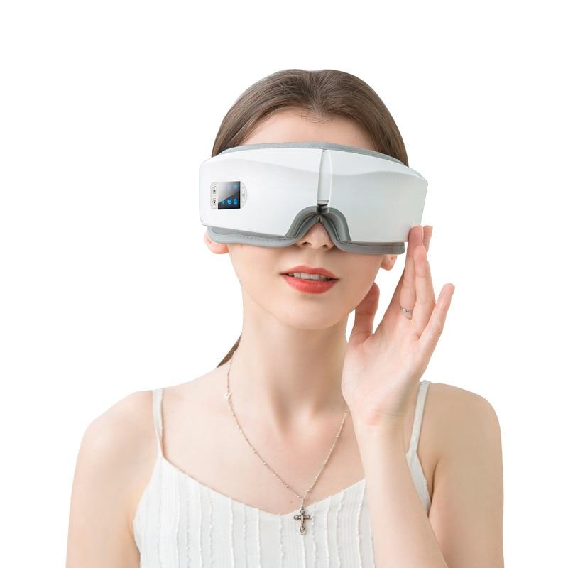 4d inteligente airbag vibração olho massageador instrumento de cuidados com os olhos compressa quente bluetooth olho fadiga massagem óculos