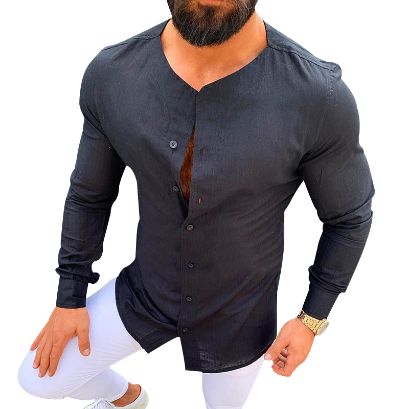 New Arrivals Men's Casual Shirt Soild Color Cotton Linen Button Slim Fit Social Hawaiian Blouses Male Black Long Sleeve Clothing
