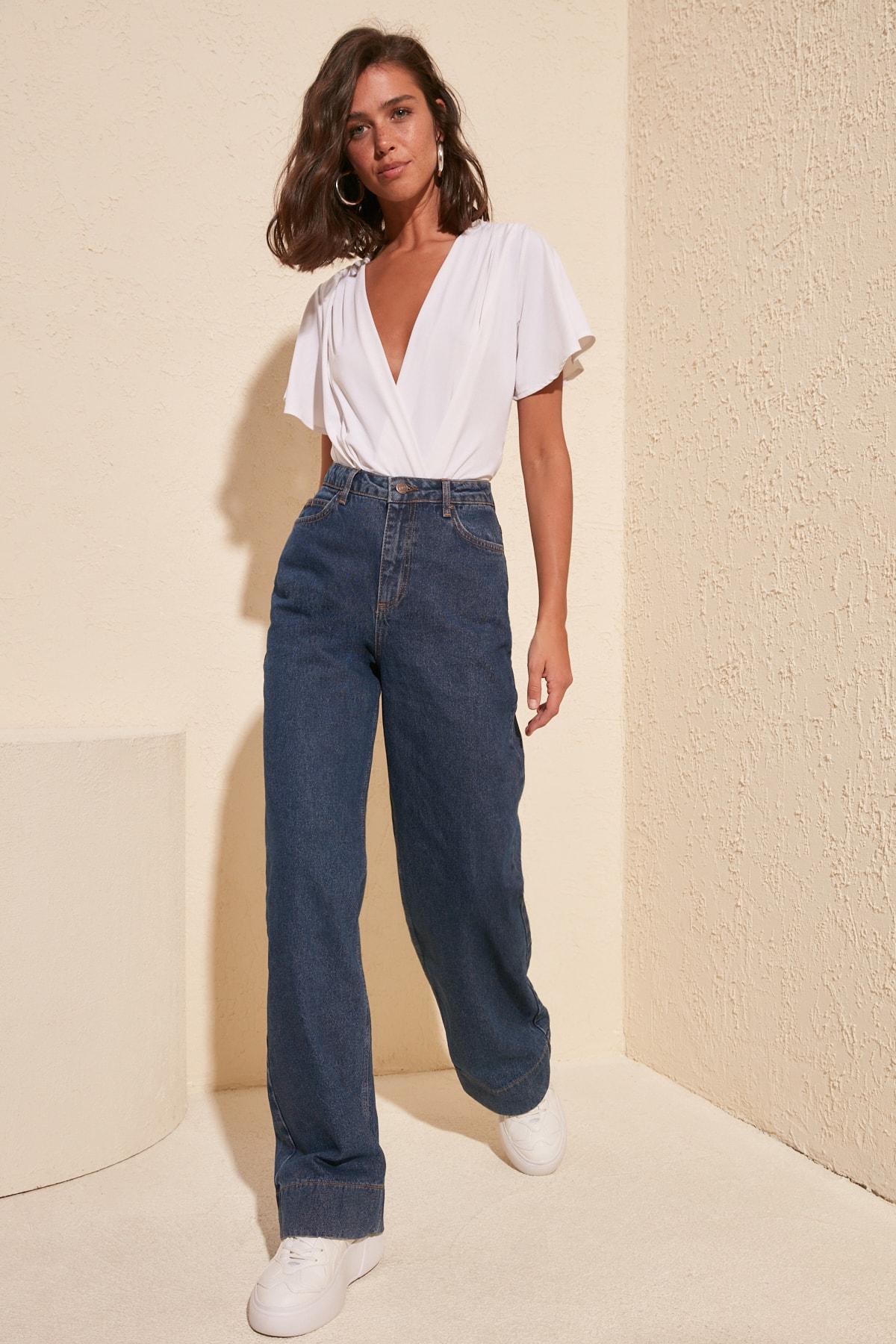 Trendyol Trotting Detailed High Bel Wide Leg Jeans TWOSS20JE0148|Jeans|   - AliExpress