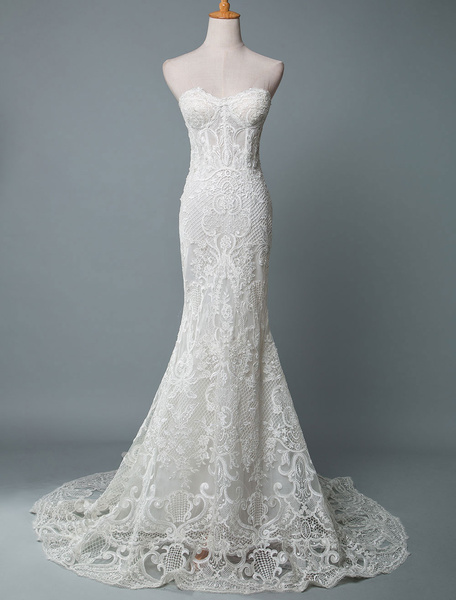 Lace Wedding Dress Mermaid Sweetheart Strapless Sleeveless Floor Length With Train Bridal Dresses