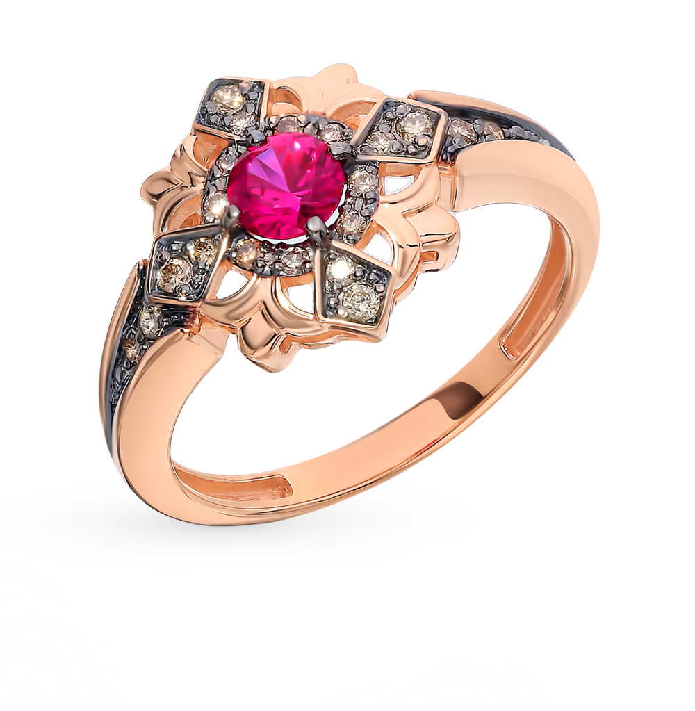 Gold Ring With Cognac Diamonds And Ruby SUNLIGHT Test 585