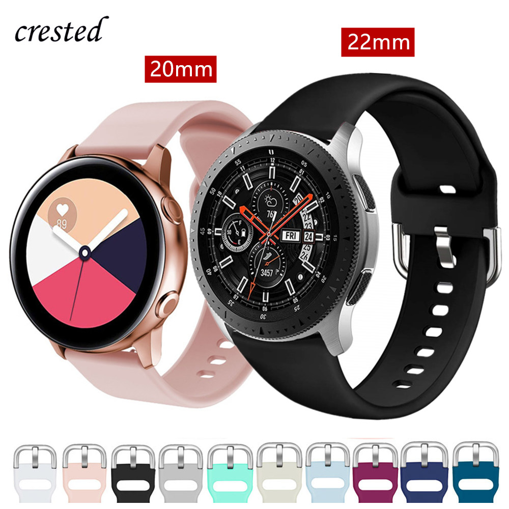 20/22mm Watch Band For Samsung Galaxy Watch 46mm/42mm/Active 2 Strap Gear S3/S2/Sport Silicone Bracelet Huawei Watch GT/S 3/2/46