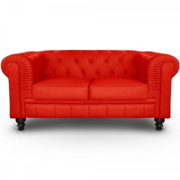 Sofa CHESTER, 2 Places, Similpiel Ferrari Red