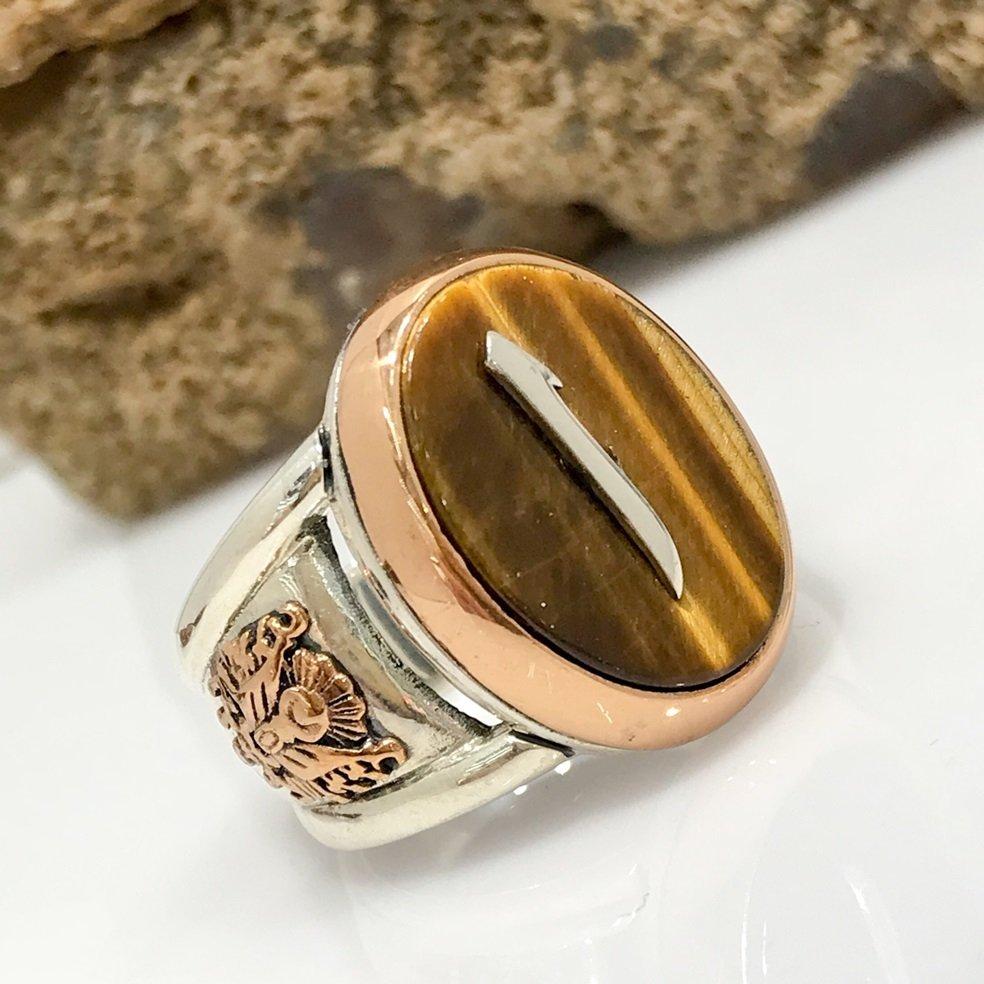 Aleph Letter Tiger 'S Eye Stone Silver Men 'S Ring