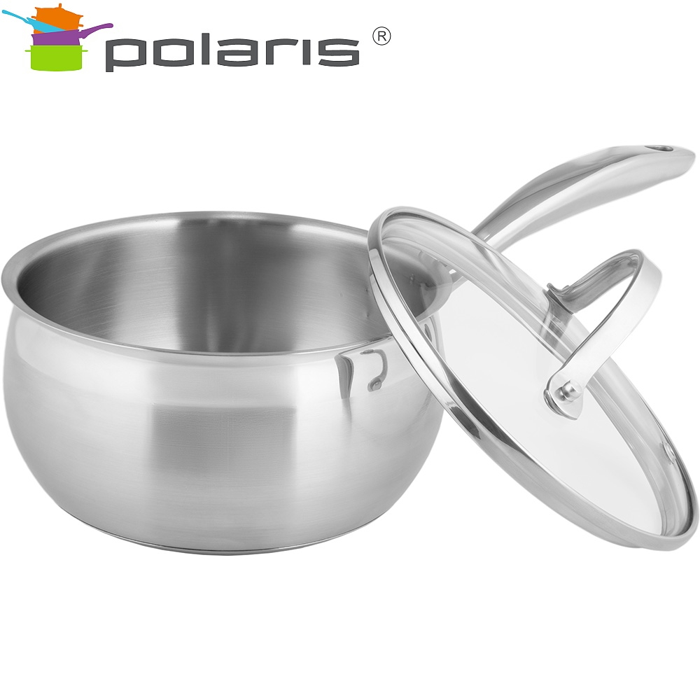 Bucket with lid Polaris Sonata-16SP Kitchen set stainless steel steel cookware Tableware with lid ladle mug with lid