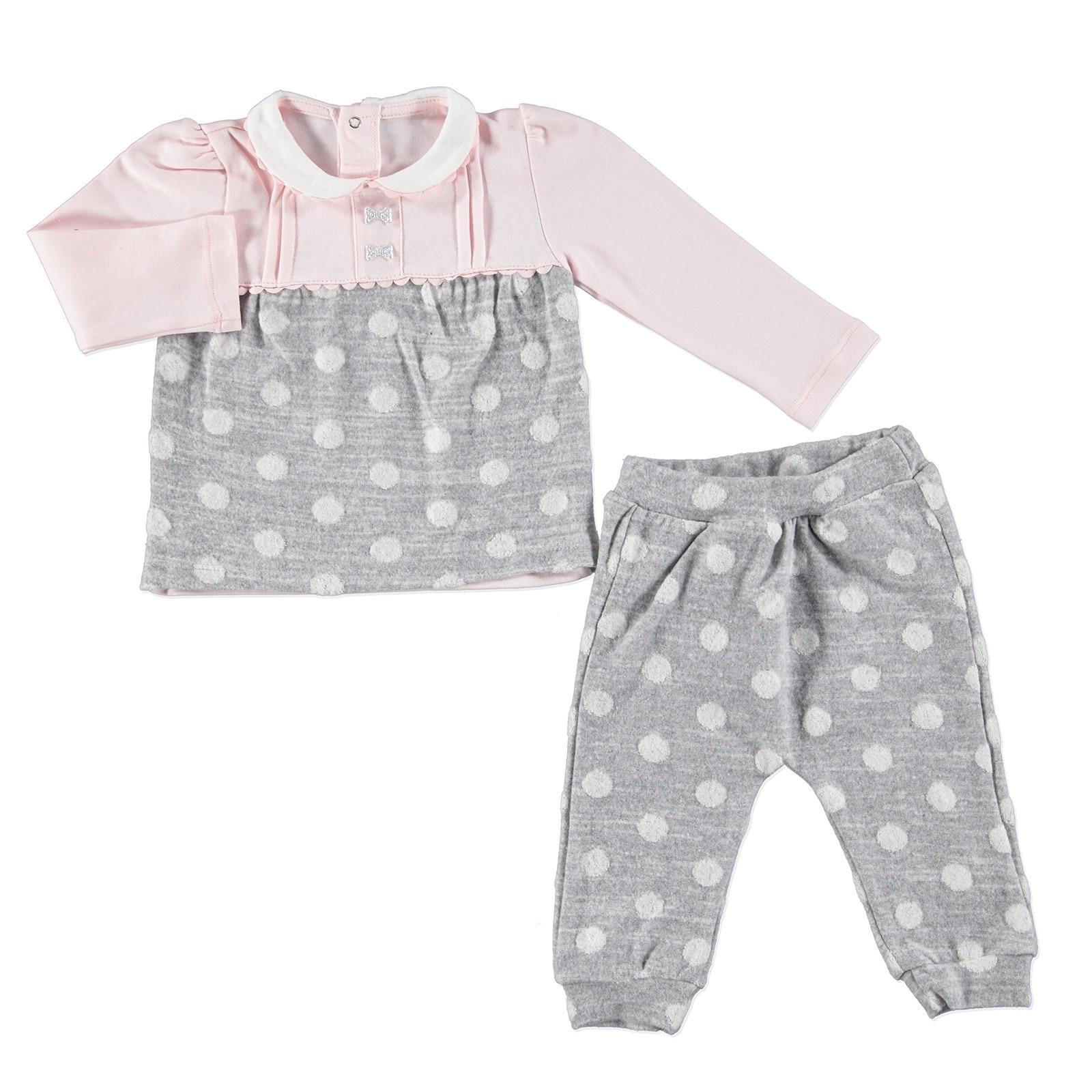 Ebebek Mymio Baby Jacquared Spotted Peter Pan Collar Interlock Sweatshirt Pants Set 2 Pcs