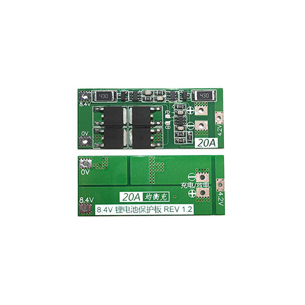 Taidacent  2 String 18650 Li Battery Charging Protection PCB BMS Module Board With Equalization 20A 2S Battery Protection Board