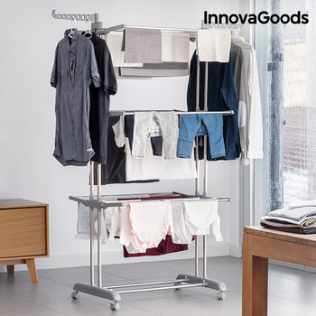 InnovaGoods Folding Rack with Wheels (18 Bars)