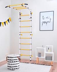 Complejo deportivo para niños, escaleras para niños, pared sueca para niños, puerta redonda 2,0 blanca
