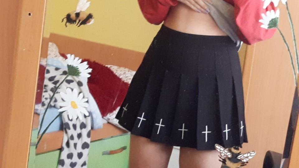 InsGoth High Waist Mini Black Skirts Gothic Streetwear Cross Print Pleated Women Skirts Emo Fairy Grunge Lolita Harajuku Skirt|Skirts|   - AliExpress