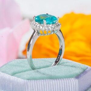 Image 3 - GZXSJG Paraiba التورمالين الأحجار الكريمة الدائري للنساء الصلبة 925 فضة التورمالين الماس خاتم يدوي الصنع للذكرى