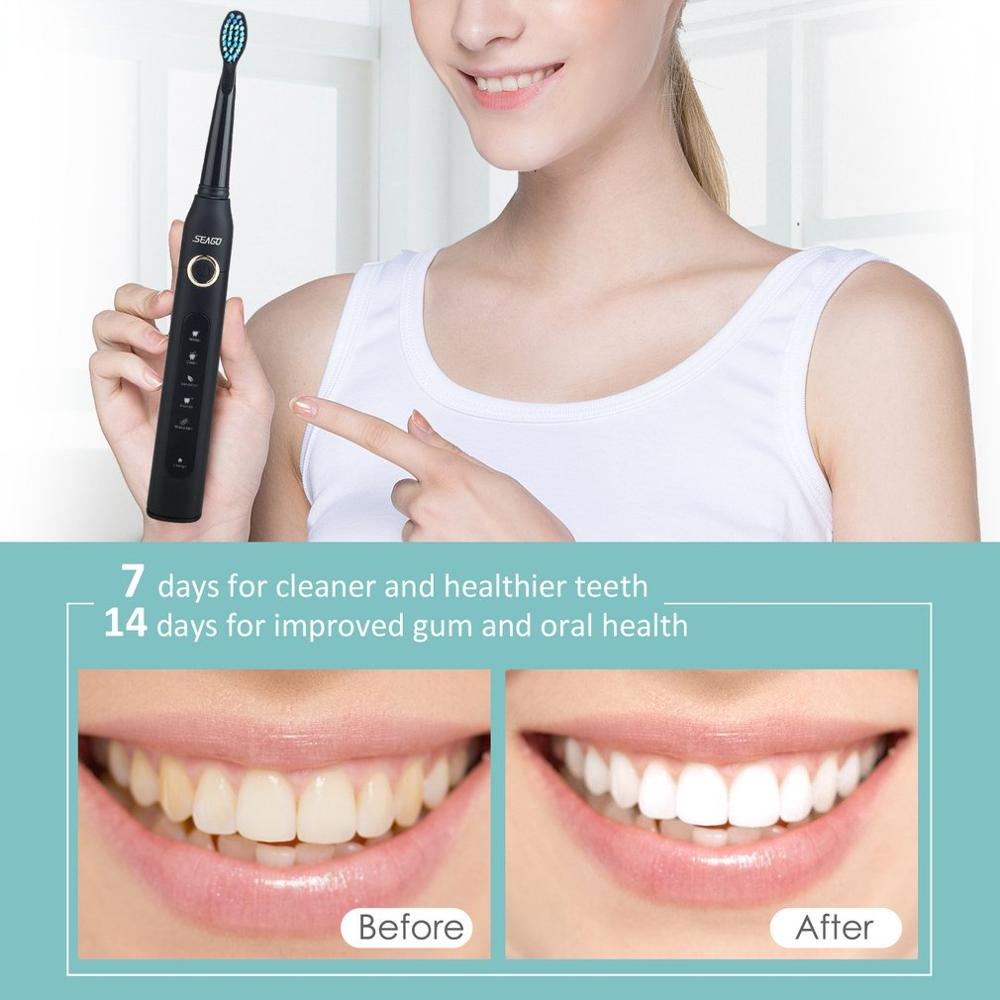 Seago SG-507 USB Rechargeable Sonic Electric Toothbrush Adult Waterproof Deep Clean Teeth Whitening Brush + 2 Replacement Heads