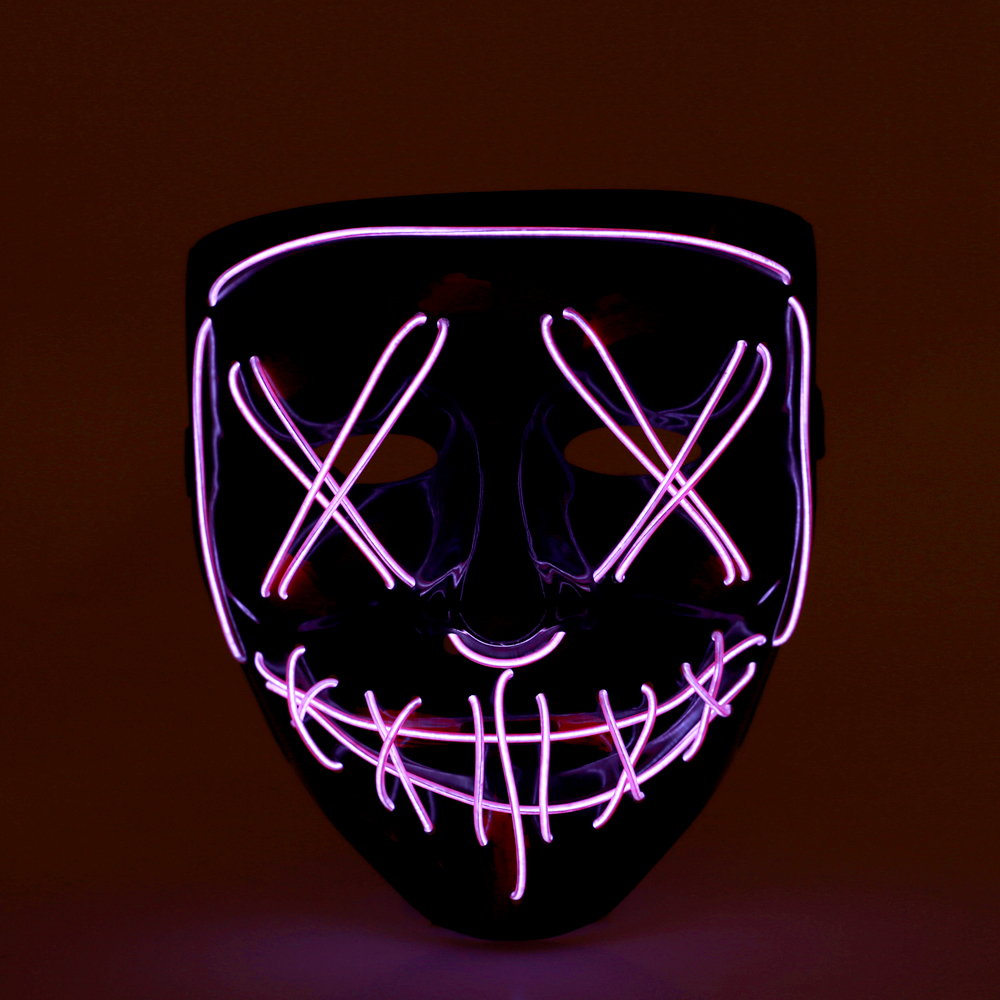 Neon Halloween Deccorations Mask LED Light Up Party Masks Cosplay Horror Masks Festival Supplies Glow In Dark Masque Masquerade