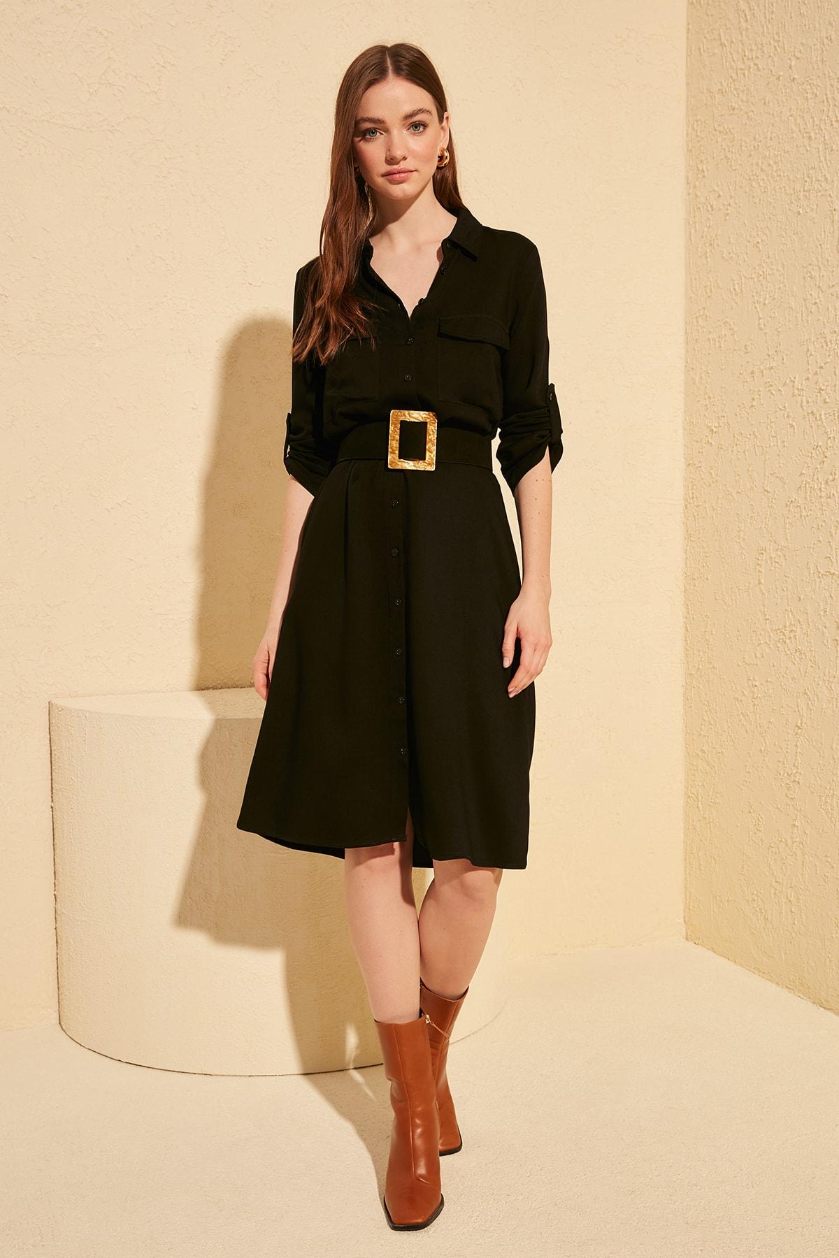 Trendyol Black Belted Shirt Dress TWOAW20EL0741
