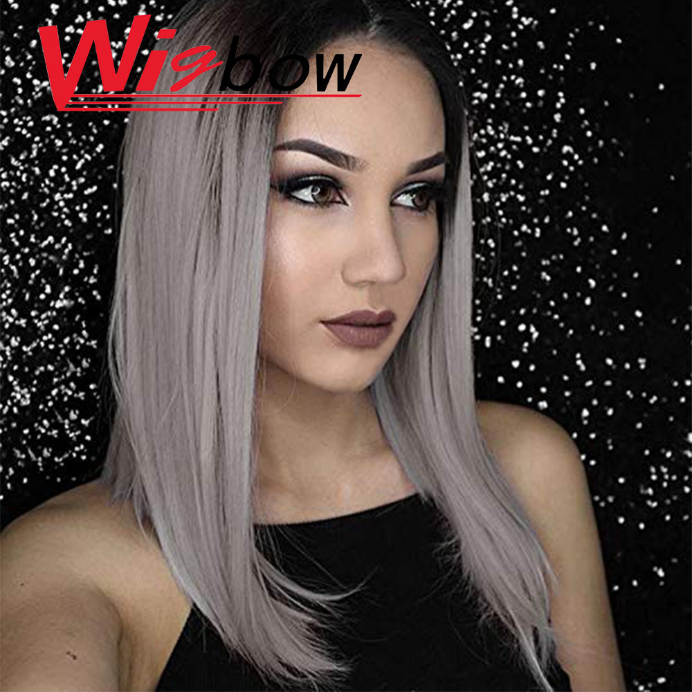 Grey Wig Colored Human Hair Wigs For Women Straight Wig Lace Closure Wig Raw Indian Hair Remy Straight With Baby Hair Wigbow