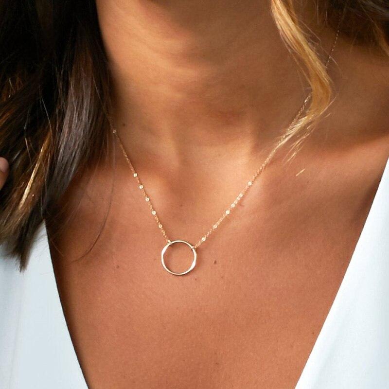 Cercle Collier bijoux faits à la main personnalisé or rempli ras du cou pendentifs Collier Femme Kolye Collares femmes colliers bijoux