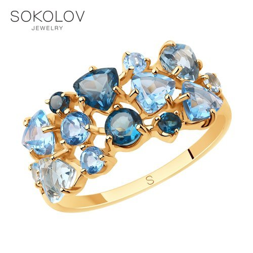 SOKOLOV Ring Gold With Blue And Blue Topaz Fashion Jewelry 585 Women's Male