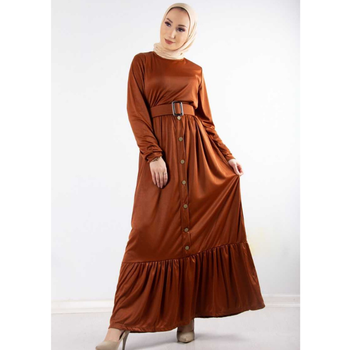 Woman Long Dresses Muslim Button Accessory 2021 Turkish Clothes For Women Autumn Garment 3abaya Moroccan Tagine European Clothes image