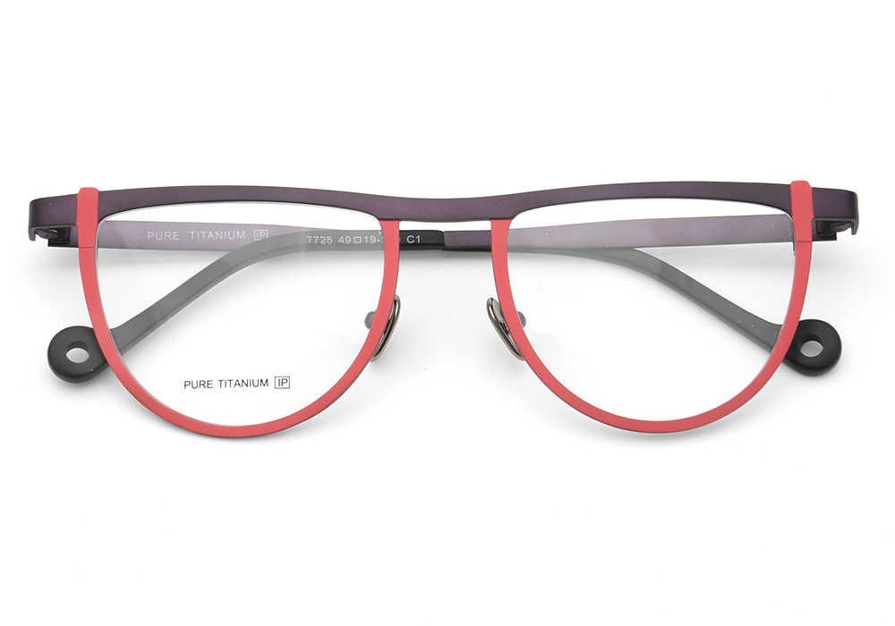 Men Women Round Two-Toned Pure Beta Titanium Lightweight Fashion Unique Retro Prescription Unisex Eyeglass Frames Red Brown Pink