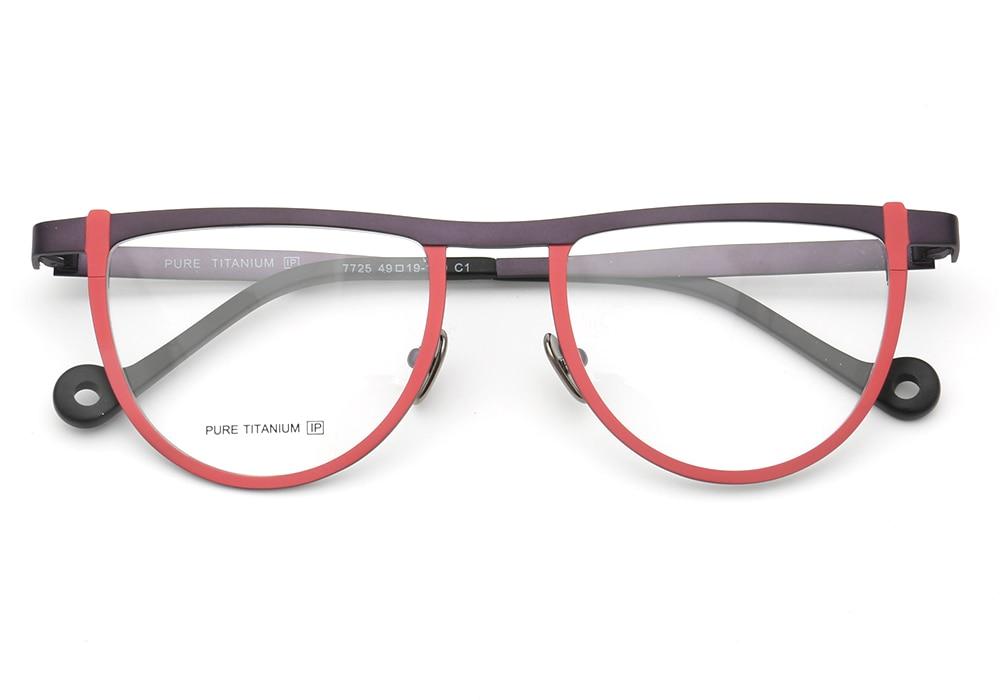 Men Women Round Two-Toned Pure Beta Titanium Lightweight Fashion Unique Retro Prescription Unisex Eyeglass Frames Red Brown Pink