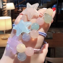 New Acrylic Five-Pointed Star Candy Color Ball Hair Band For Women Tied High Elastic Rubber Band Korean Hair Ring Hair Rope wild hair band female striped wild color large intestine ring elastic band hair ring hair rope hair accessories coconut tree