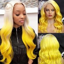 Парик с прозрачными кружевными передними волосами с эффектом омбре, 613, светлые и желтые волнистые волосы 13X4, парик с полной плотностью, 2 отт...