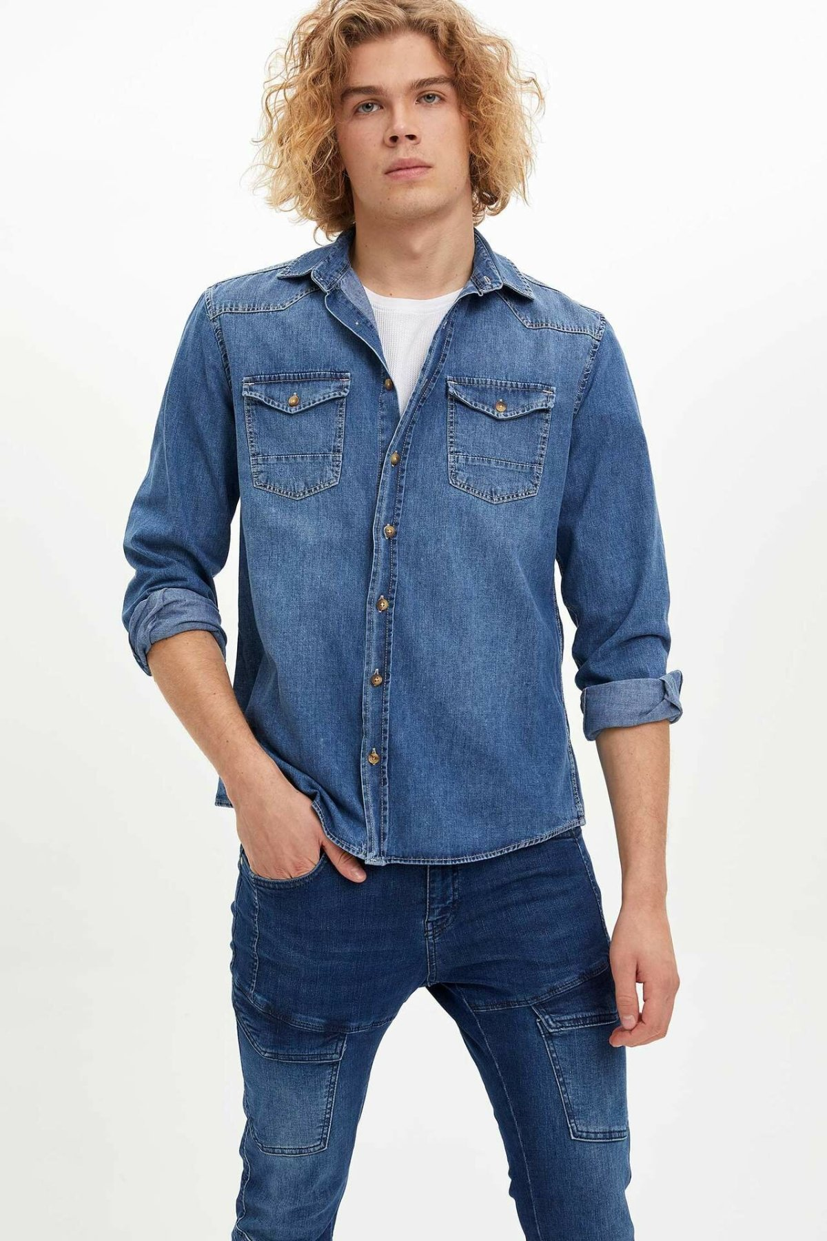 DeFacto Man Long Sleeve Denim Shirt Male Turn-down Collar Pockets Denim Tops Casual Shirts For Autumn Spring-M0600AZ19AU