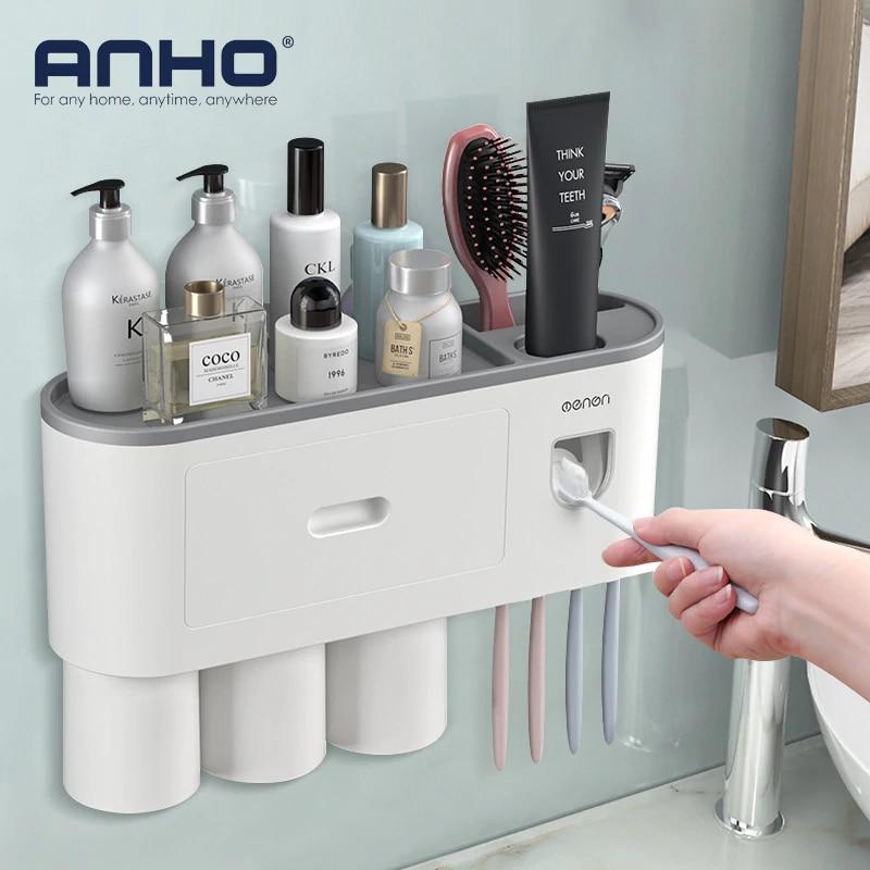 Suporte da escova de dentes parede automático dispensador creme dental adsorção magnética invertido copo rack armazenamento do banheiro accessorie