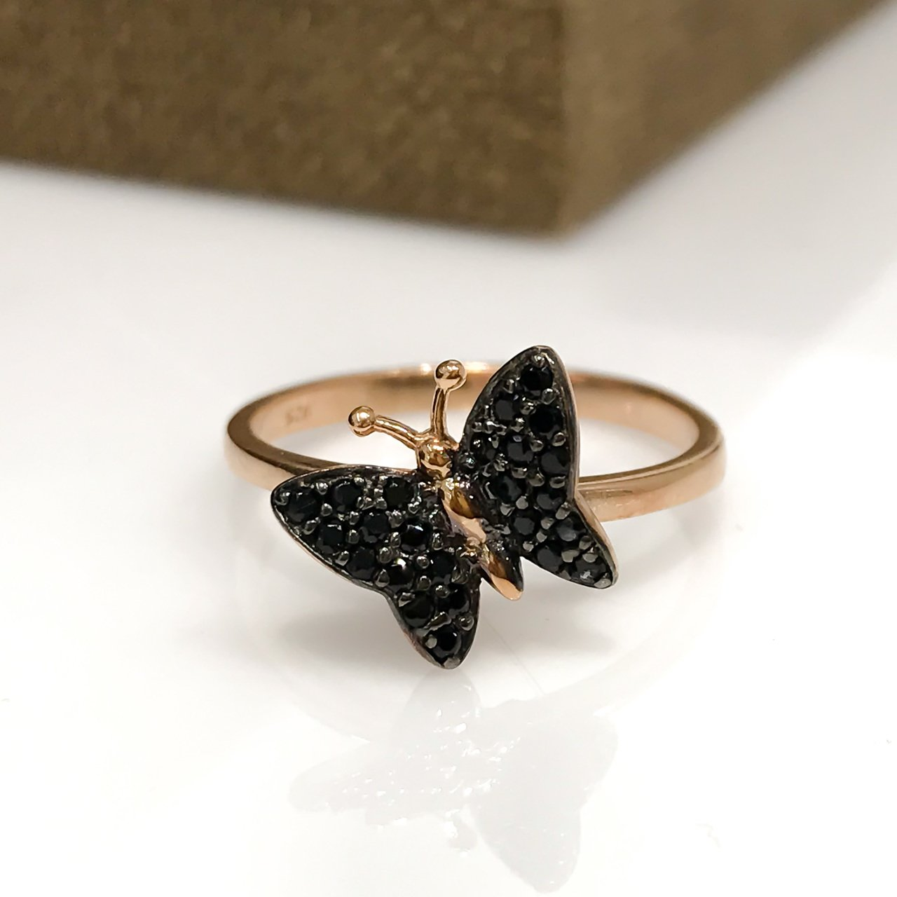 Tiny Black Onyx Butterfly Rosegold Silver Ring