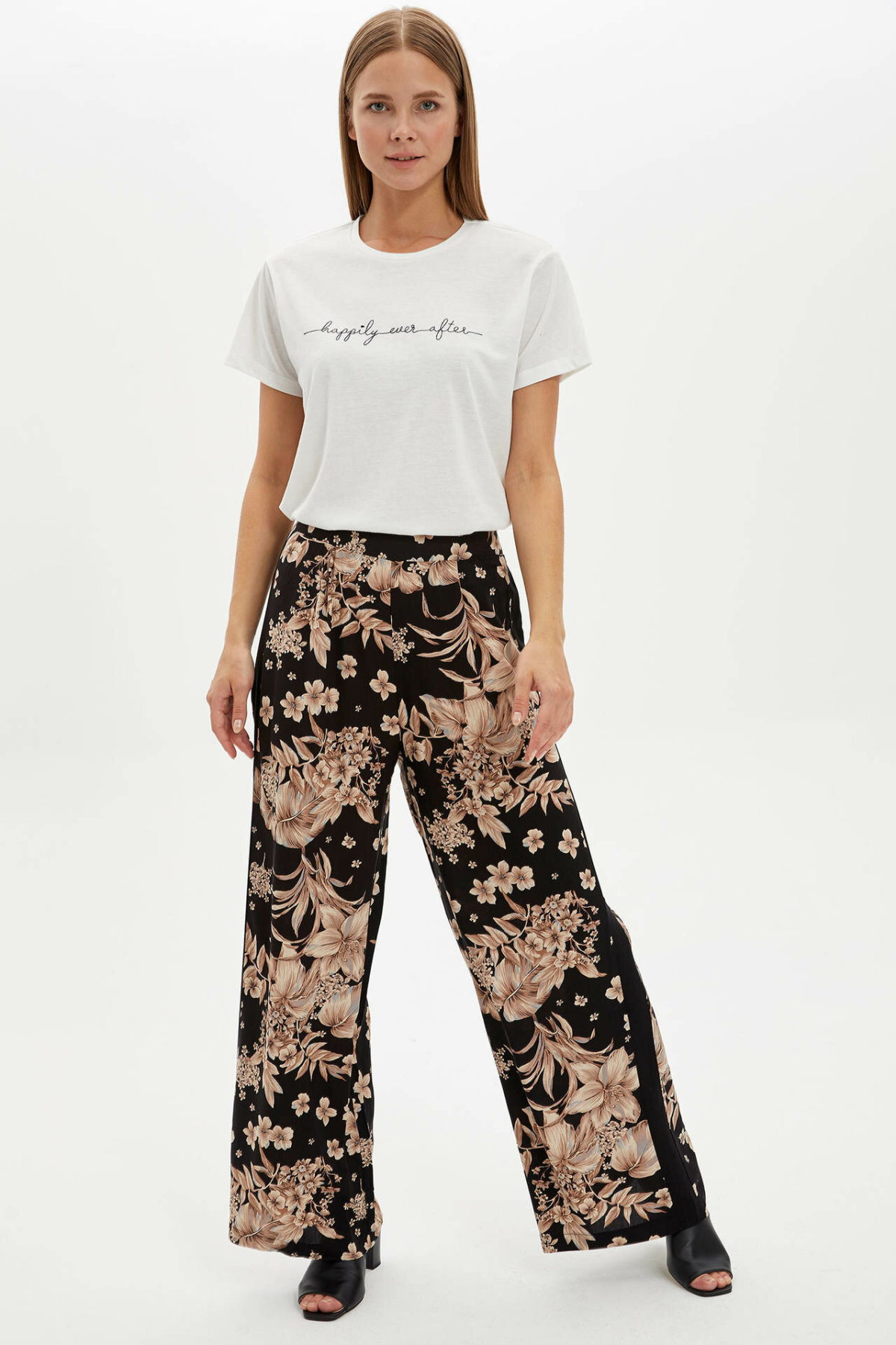DeFacto Woman Summer Wide-leg Long Pants Female Floral Loose Bottoms Female Elastic Bottoms Woven Trousers-L7632AZ19HS