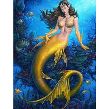 Fundaful Art Diamond Painting Mermaid Full Drill Round/Square Rhinestone Embroidery Cross Stitch Art Craft(China)