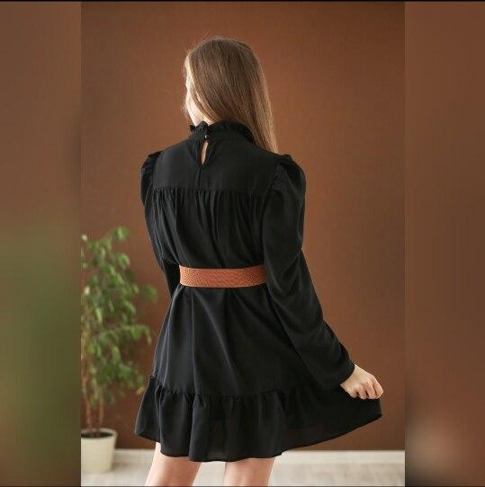 Hot 2019 autumn new fashion women's temperament commuter puff sleeve small high collar natural A word knee Chiffon dress reviews №8 342865