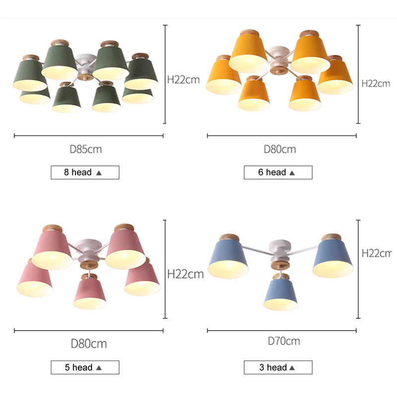 Image 5 - Chandeliers  Living Room suction top Lighting grey green blue yellow pink body Wooden Hanging Light Lampshade Kitchen Lights-in Chandeliers from Lights & Lighting