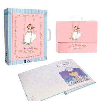 Signature book First Communion with briefcase, Girl on swing set. Souvenir for holding the First Communion.