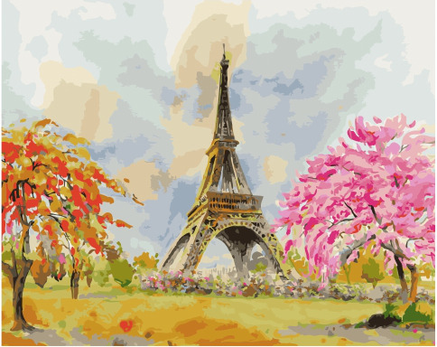 Painting By Numbers PK 45054 Park At The Eiffel Tower 40*50